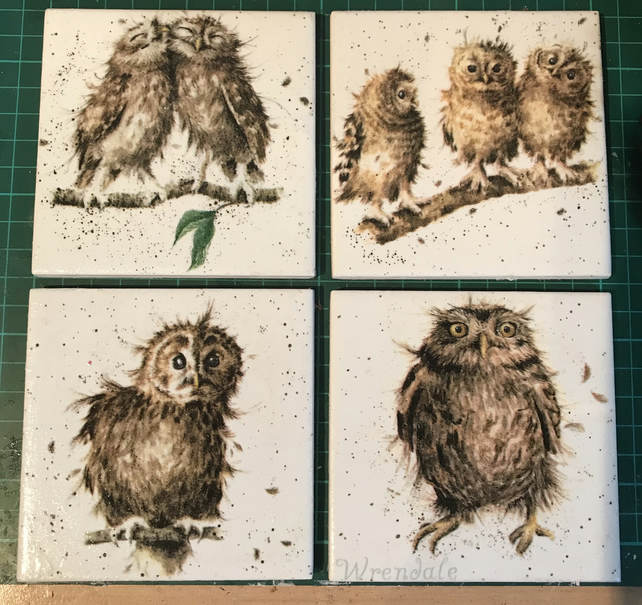 Set of 4 Ceramic Coasters Wrendale Design (owls)