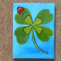 "Ready  to hang Hand-Painted Acrylic Painting of a ""Lucky four leaf clover"""