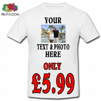 PERSONALIED T SHIRT YOUR PHOTO AND TEXT WEDDING BIRTHDAY ANNIVERSARY STAG HEN DO