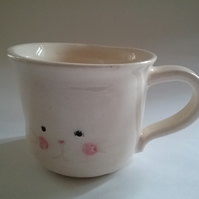 Hand thrown ceramic pottery bunny rabbit mug
