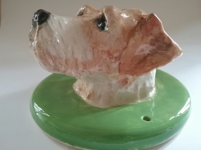 Hand made ceramic clay pottery dog head sculpture