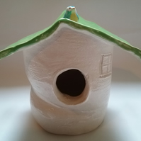 Ceramic pottery bird house hand made in grogged clay with little bird detail