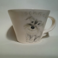 Hand thrown ceramic cream schnauzer mug or cup. With hand painted schnauzer dog.