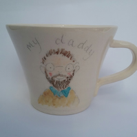 Daddy mug. Handthrown ceramic cup with hand illustrated dad.