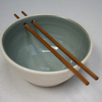 Noodle & rice bowl with grey interior and chopstick holes