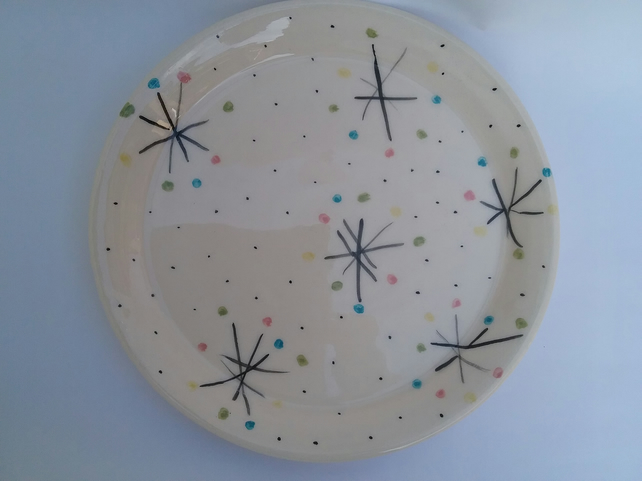 Handmade ceramic handthrown pottery large plate or platter with cheery pattern