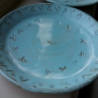 Handthrown ceramic plate in turquoise blue glaze on terracotta. Handmade  gift.