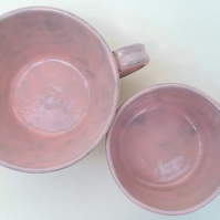 pink ceramic handmade cup - mug 1 large coffee cup 1 small tea cup