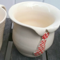 Hand thrown pottery cup - gift mug for granddad or dad collar and tie detail