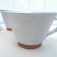 Ceramic hand thrown & stamped white glazed terracotta cup - hand made coffee cup