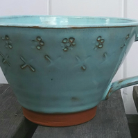 Handthrown pottery cup turquoise glazed mug handmade with stamped patterns -gift