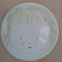 hand thrown ceramic plate with blonde girl face - hand made gift for child