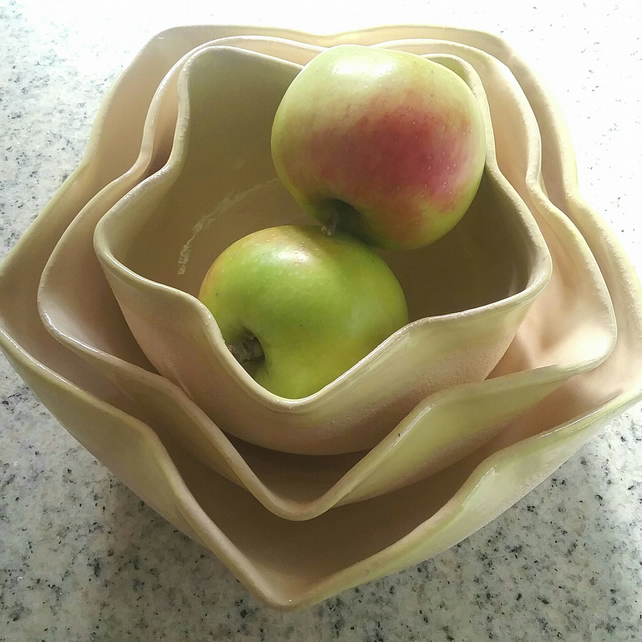 Trio of ceramic handmade bowls large medium & small for serving, fruit or salad