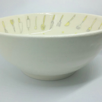 Ceramic handthrown mixing serving bowl with handpainted dots & kitchen utensils