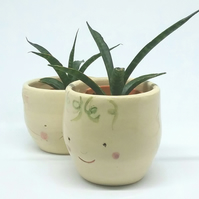 Handmade ceramic succulent plant pot or tea light candle holder with face detail