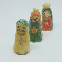 Handmade ceramic cake toppers for Christmas cake - nativity set or three kings