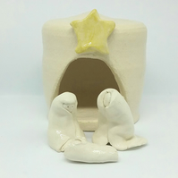 Ceramic hand made Christmas nativity set with little stable Joseph Mary & Jesus