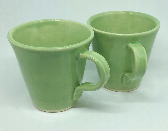 Hand made green ceramic mug - hand thrown pottery gift for tea or coffee drinker