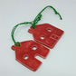 Handmade ceramic Christmas decoration for the tree - 2 little red glazed houses
