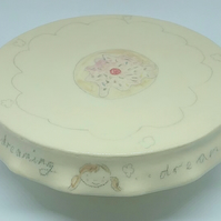 Ceramic handthrown cake stand with hand painted cup cake & faces for cake maker