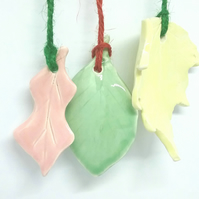 Handmade ceramic Christmas tree decoration x 3 in pink yellow and green glaze