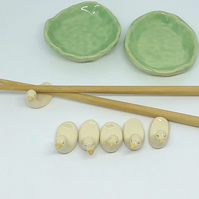 Ceramic hand made chopsticks rest ducks and pottery ponds or soy sauce dip bowls