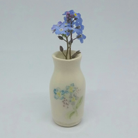 Miniature handmade vase with hand painted forget me not flowers dolls house