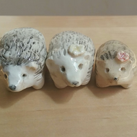 Handmade ceramic pottery hedgehog figurine for lover of hedgehogs choice of 3