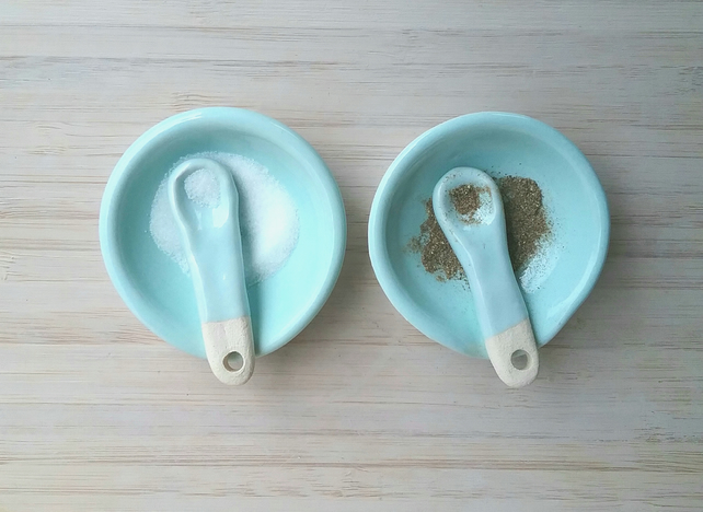 Ceramic hand made salt and pepper dishes with handmade spoons & turquoise glaze