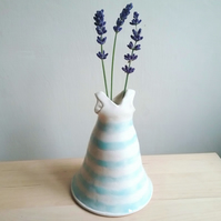 Handmade ceramic dress vase for flower lover gift in striped white and blue