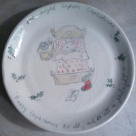 Hand made ceramic plate for Father Christmas santa on xmas eve with mouse