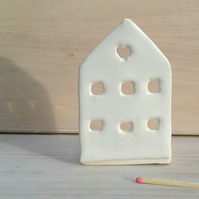 Handmade ceramic house tealights candle holder with white glaze Christmas gift