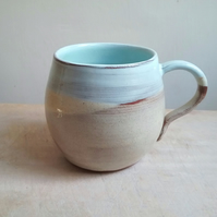 Hand thrown ceramic mug SALE with blue and cream glaze hand made pottery cup 2nd