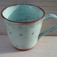 Hand made ceramic mug terracotta & turquoise with rustic design for tea coffee
