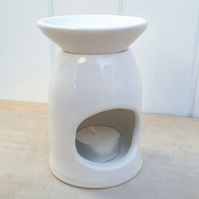 Handmade white ceramic oil burner minimal pottery essential oil lover gift