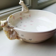 Handmade bespoke cat bowl with pawprints 1 or 2 cats & hearts or stars or dots