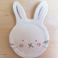 Handmade ceramic bunny rabbit trinket dish or spoon rest pottery ring holder