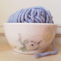 Handmade ceramic yarn bowl with painted cat & yarn with knitting holes gift idea