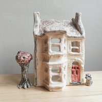 Handmade house in ceramic with dog or pet & tree shrub housewarming wedding gift