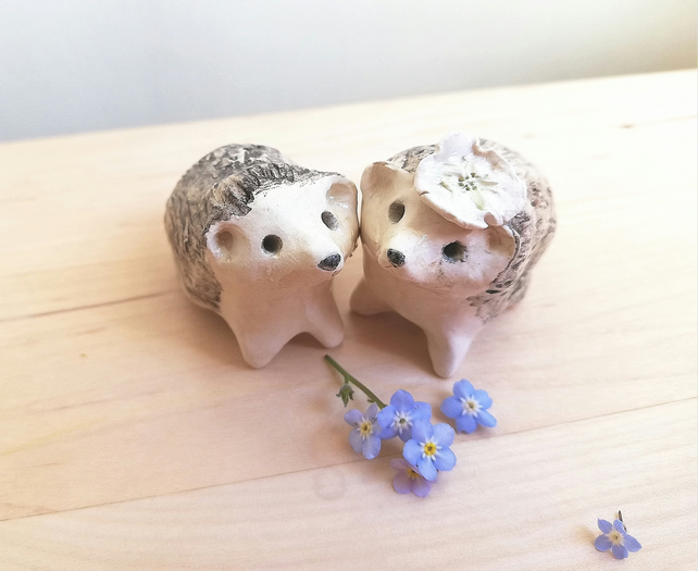 Hedgehog bride and groom wedding cake toppers. Ceramic handmade hedgehog totem