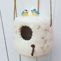 Ceramic handmade bird house with 2 blue tit birds & blossom garden home idea