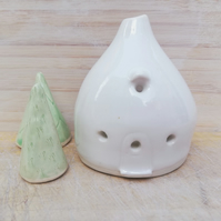 White handmade ceramic house tea light - pottery candle holder - new home gift