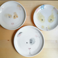 Hand made ceramic guinea-pig or hamster plate — nursery wall art or cake plate