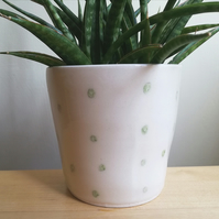 Handmade ceramic green dots succulent plant pot or herb planter - gift