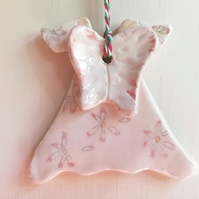 Ceramic angel dress and wings with hand painted daisies Christmas decoration
