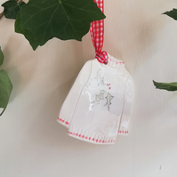 Handmade ceramic christmas jumper tree decoration ornament bauble