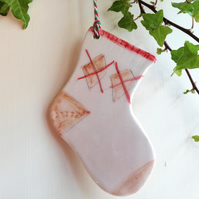 Ceramic christmas stocking tree decoration handmade ornament bauble