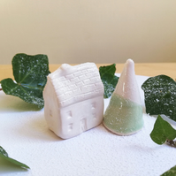 Handmade ceramic Christmas house and tree toppers for cake miniature white house