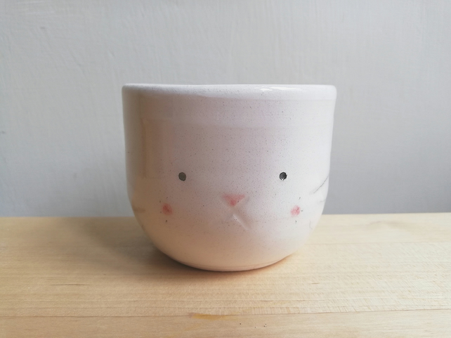 Handmade ceramic bunny rabbit succulent plant pot with little face - gift
