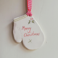 Ceramic christmas mitten tree decoration handmade ornament bauble
